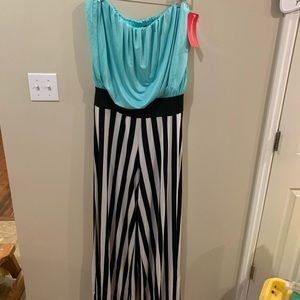 GITIONLINE Turquoise Striped Strapless Jumpsuit 2x